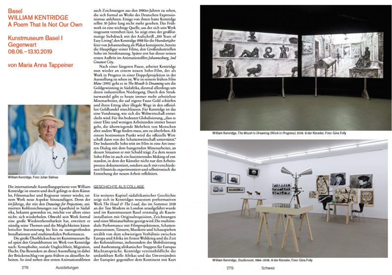 KUNSTFORUM International, Bd. 263, Ausstellungsrezension über William Kentridge