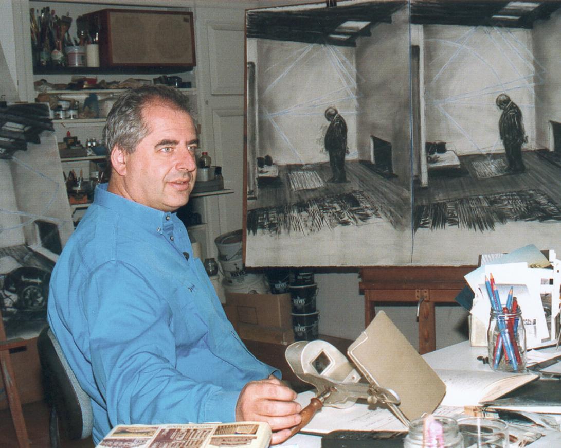 William Kentridge in seinem Atelier in Johannesburg, 1998.